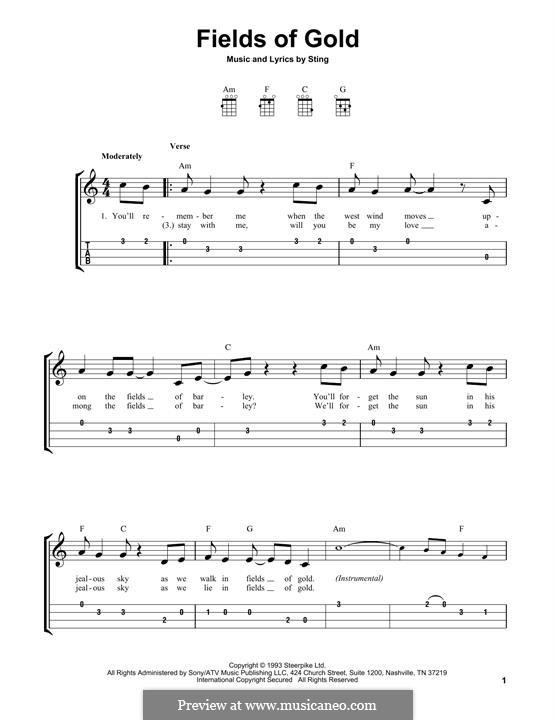 Fields of Gold: para ukulele by Sting