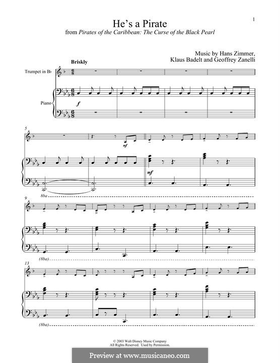 He's a Pirate (from Pirates of the Caribbean: The Curse of the Black Pearl): para trompeta e piano by Klaus Badelt