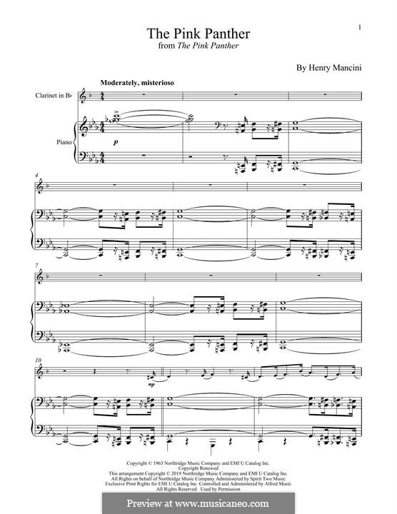 The Pink Panther: para clarinete e piano by Henry Mancini
