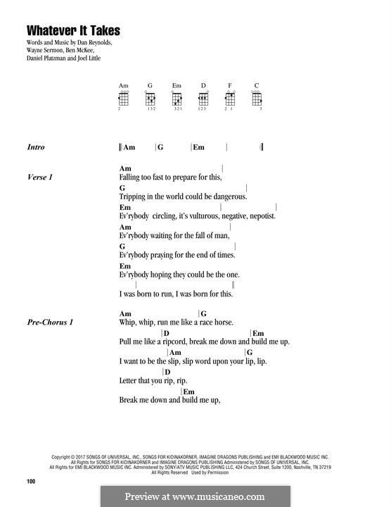 Whatever It Takes (Imagine Dragons): para ukulele by Benjamin McKee, Daniel Reynolds, Joel Little, Daniel Platzman, Wayne Sermon