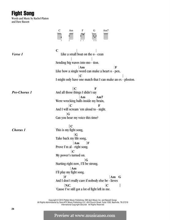 Fight Song: para ukulele by Dave Bassett, Rachel Platten