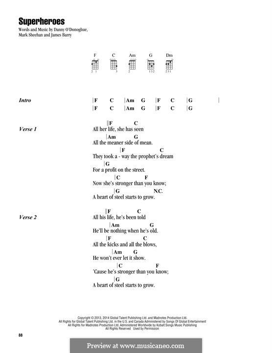 Superheroes (The Script): para ukulele by Danny O'Donoghue, Mark Sheehan, James Barry