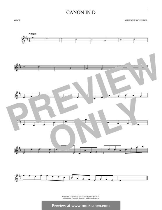 Canon in D Major (Printable): For oboe by Johann Pachelbel