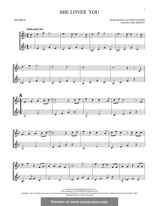 She Loves You (The Beatles): For two trumpets by John Lennon, Paul McCartney