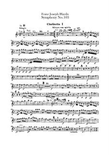 Symphony No.103 in E Flat Major 'Drum Roll', Hob.I/103: clarinetes parte I-II by Joseph Haydn