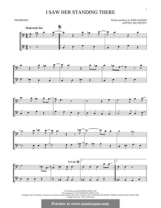 I Saw Her Standing There (The Beatles): For two trombones by John Lennon, Paul McCartney