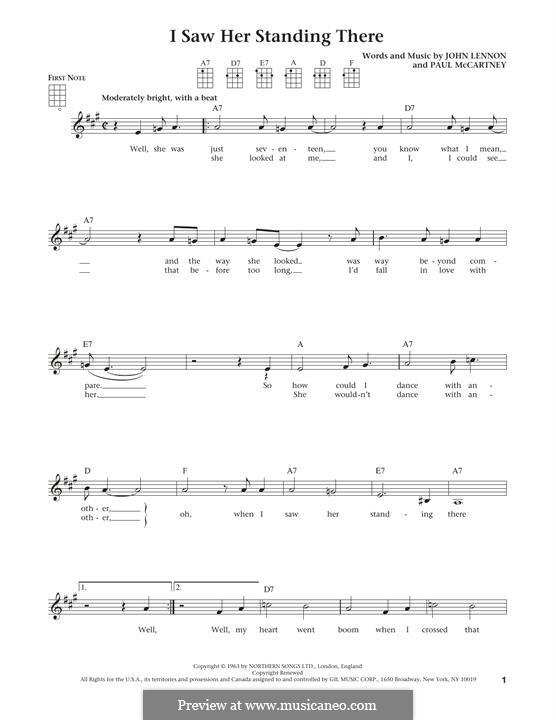 I Saw Her Standing There (The Beatles): para ukulele by John Lennon, Paul McCartney