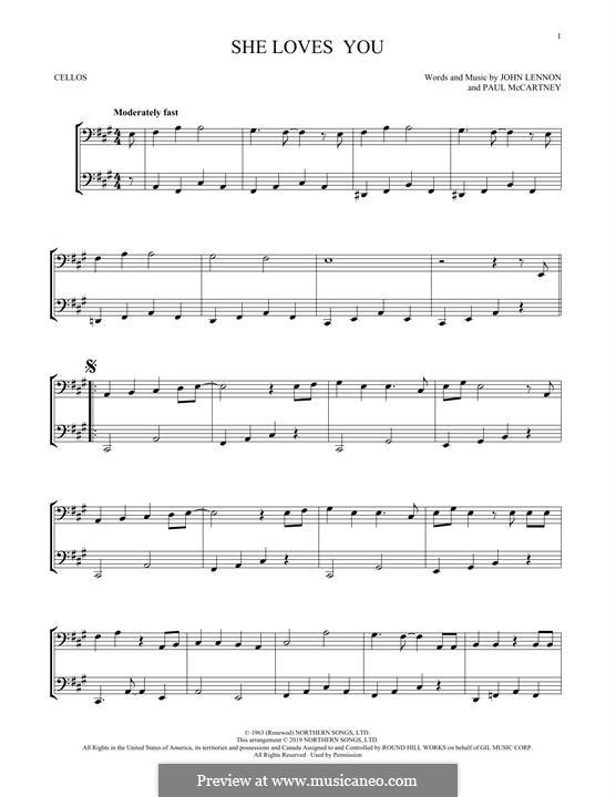 She Loves You (The Beatles): para dois violoncelo by John Lennon, Paul McCartney