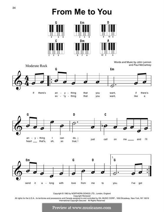 From Me to You (The Beatles): Facil para o piano by John Lennon, Paul McCartney