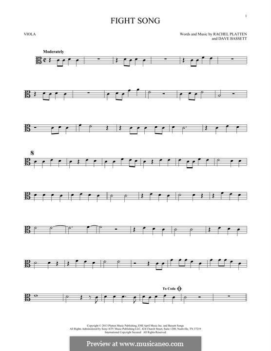 Fight Song: para viola by Dave Bassett, Rachel Platten