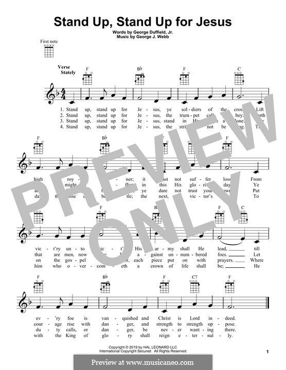 Stand Up for Jesus: para ukulele by George James Webb