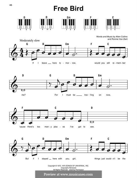 Free Bird (Lynyrd Skynyrd): Para Piano by Allen Collins, Ronnie Van Zant