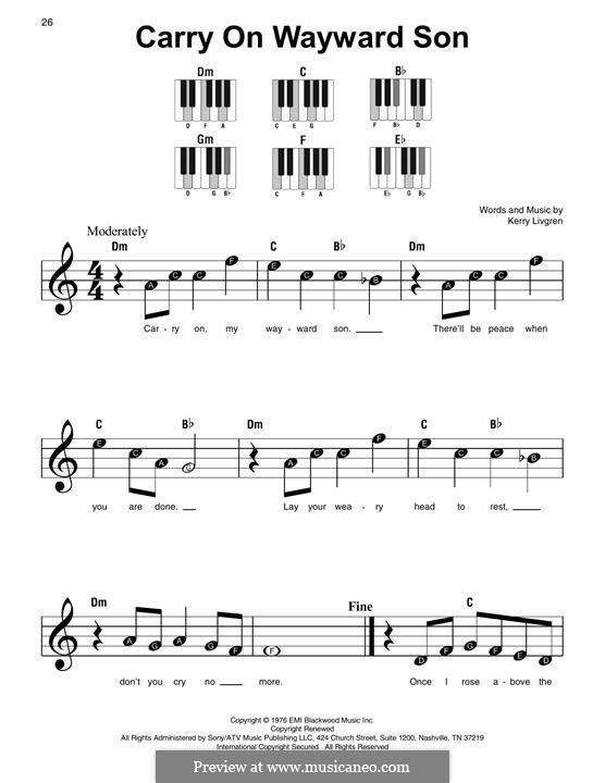 Carry on Wayward Son (Kansas): Facil para o piano by Kerry Livgren