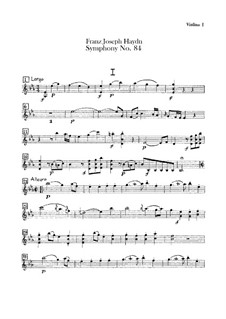 Symphony No.84 in E Flat Major 'In nomine Domini', Hob.I/84: violino parte I by Joseph Haydn