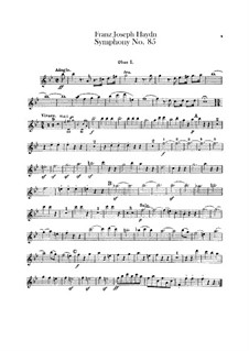 Symphony No.85 in B Flat Major 'The Queen', Hob.I/85: parte de oboes by Joseph Haydn