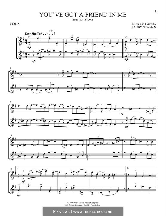 You've Got a Friend in Me (from Disney's Toy Story): para violino by Randy Newman