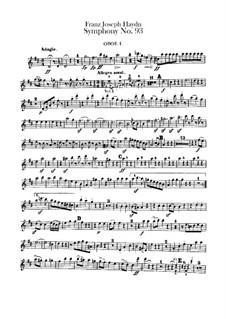Symphony No.93 in D Major, Hob.I/93: oboes parte I-II by Joseph Haydn