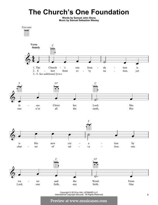 The Church's One Foundation: para ukulele by Samuel Sebastian Wesley