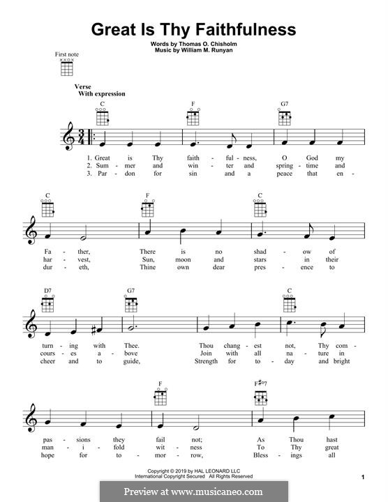 Great Is Thy Faithfulness: para ukulele by William Marion Runyan