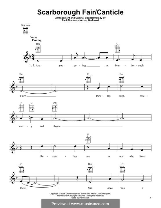 Scarborough Fair / Canticle: para ukulele by folklore