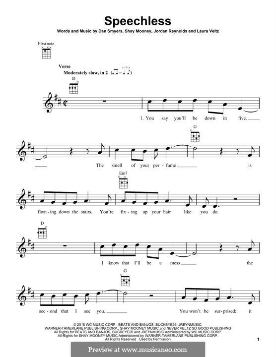 Speechless (Dan + Shay): para ukulele by Shay Mooney, Dan Smyers, Laura Veltz, Jordan Reynolds