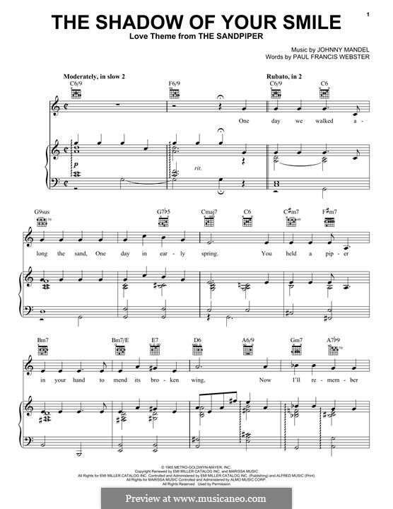 The Shadow of Your Smile (Tony Bennett): Para vocais e piano (ou Guitarra) by Johnny Mandel