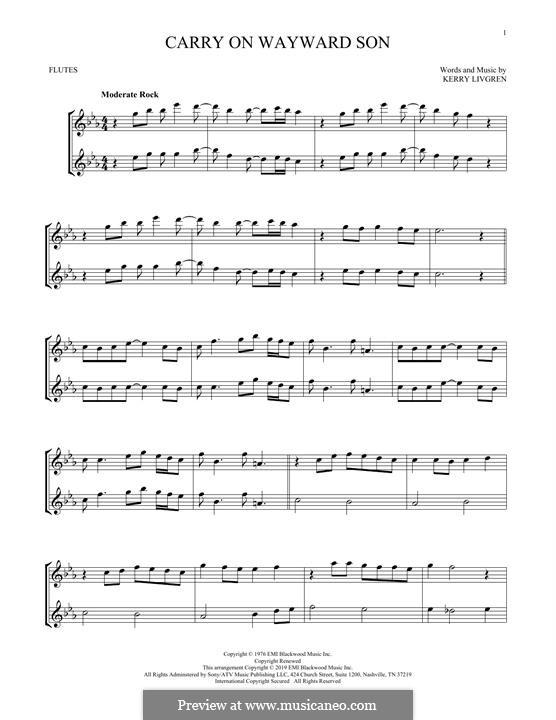 Carry on Wayward Son (Kansas): para duas flautas by Kerry Livgren