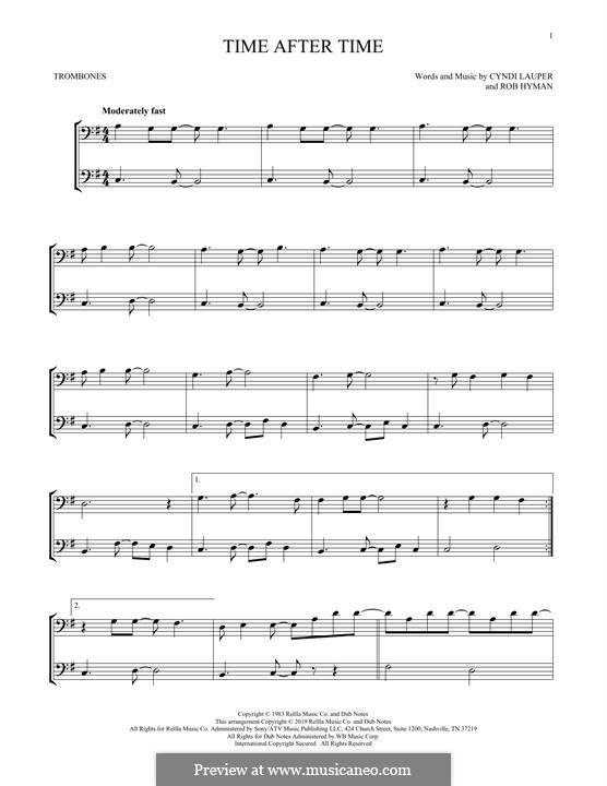 Time after Time: para trombone by Cyndi Lauper, Robert Hyman