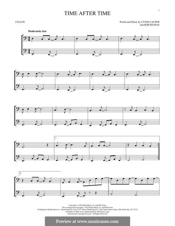 Time after Time: para violoncelo by Cyndi Lauper, Robert Hyman