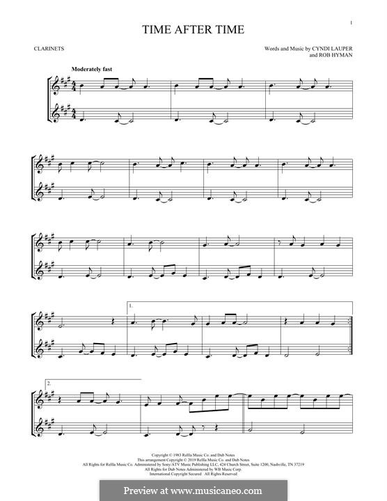 Time after Time: para clarinete by Cyndi Lauper, Robert Hyman