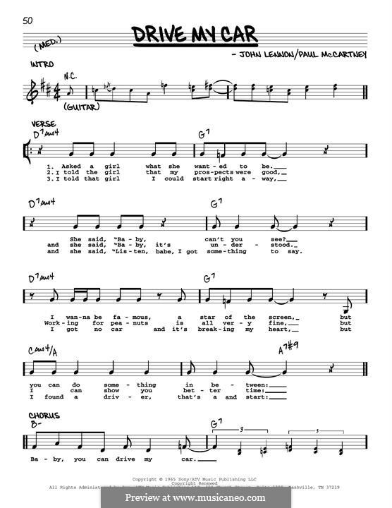 Drive My Car (The Beatles): Melody line (jazz version) by John Lennon, Paul McCartney