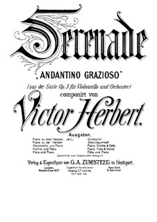 Suite for Cello and Orchestra, Op.3: Serenade, for piano by Victor Herbert
