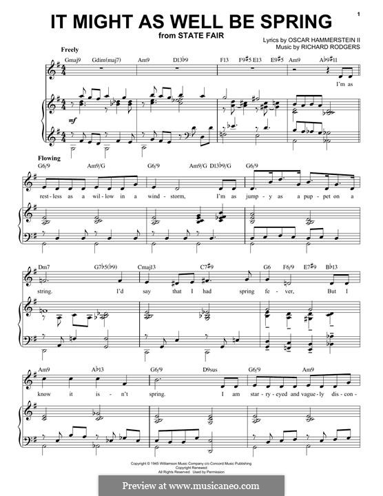 It Might as Well Be Spring: Para vocais e piano by Richard Rodgers