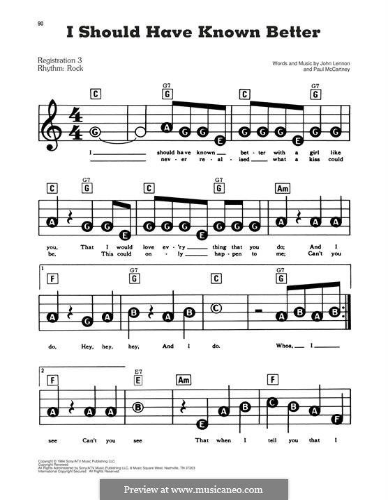 I Should Have Known Better (The Beatles): Facil para o piano by John Lennon, Paul McCartney