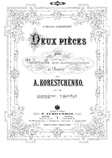 Two Pieces for Cello and Piano, Op.34: Score by Arseny Koreshchenko