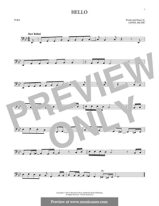 Hello: For tuba by Lionel Richie