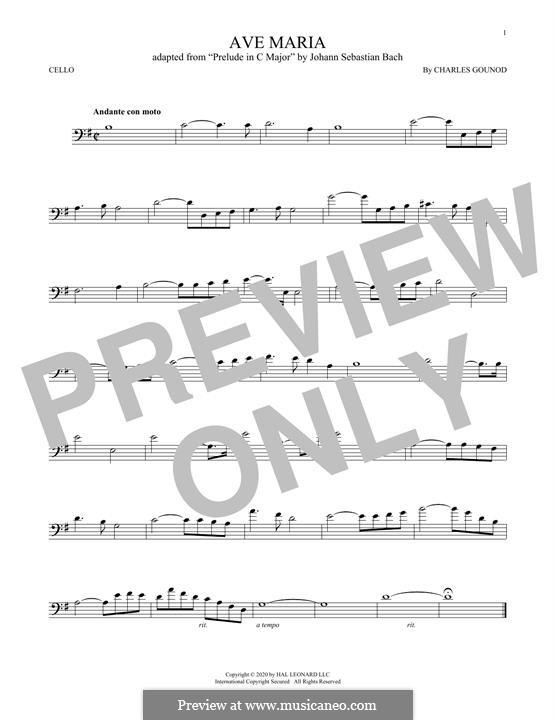Ave Maria (Printable Sheet Music): para violoncelo by Johann Sebastian Bach, Charles Gounod