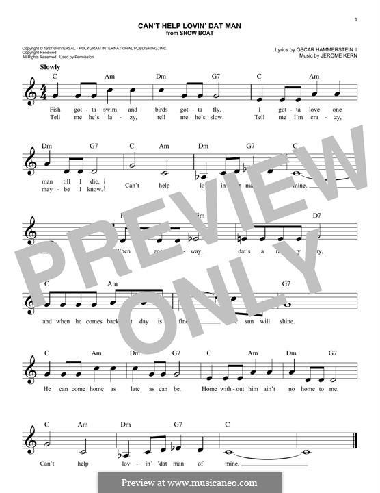 Can't Help Lovin' Dat Man (from Show Boat): para teclado by Jerome Kern