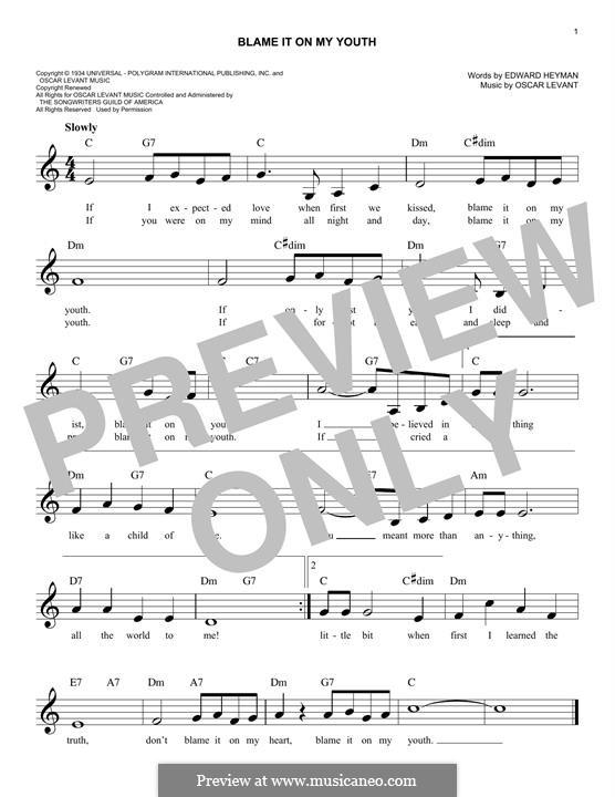 Blame It on My Youth: para teclado by Oscar Levant