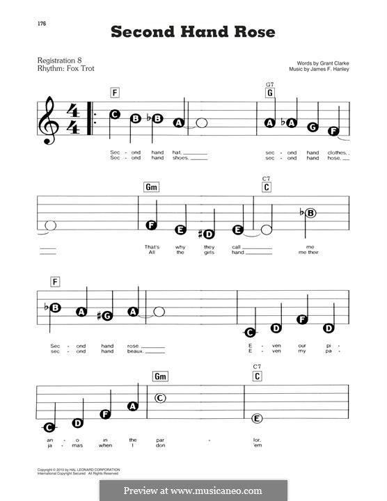 Second Hand Rose (from Second Avenue): Facil para o piano by James Frederick Hanley