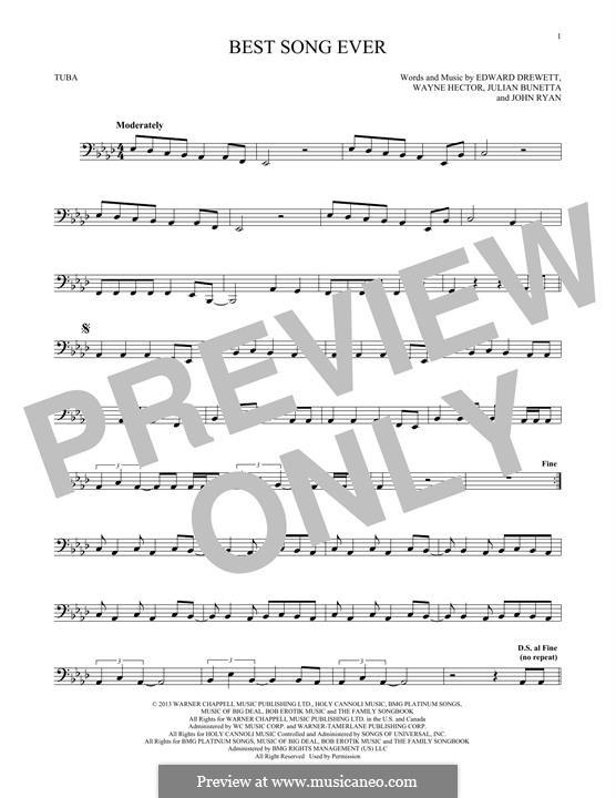 Best Song Ever (One Direction): For tuba by Ed Drewett, Julian Bunetta, Wayne Anthony Hector, John Henry Ryan