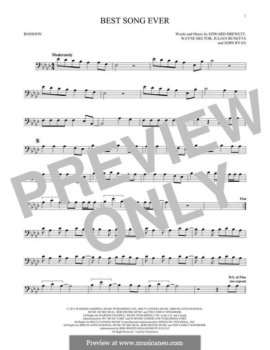 Best Song Ever (One Direction): For bassoon by Ed Drewett, Julian Bunetta, Wayne Anthony Hector, John Henry Ryan