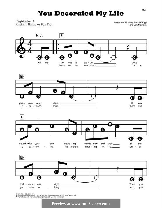 You Decorated My Life (Kenny Rogers): Facil para o piano by Bob Morrison, Debbie Hupp