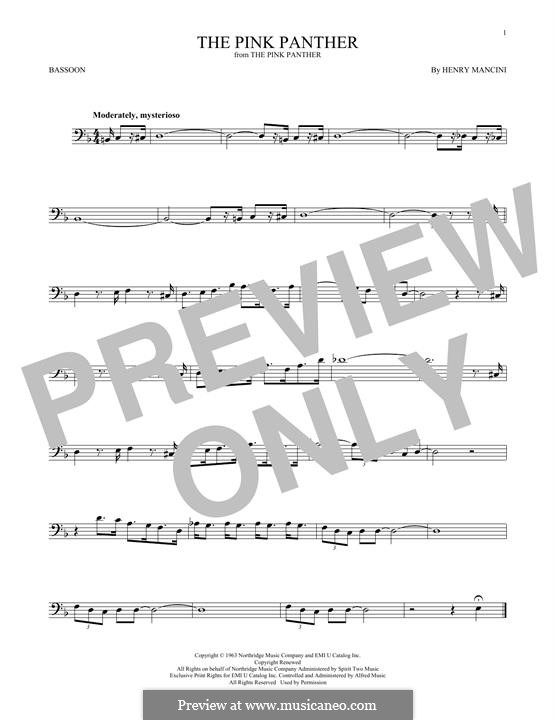 The Pink Panther: For bassoon by Henry Mancini