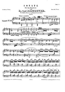 Sonata for Piano No.24, Op.78: For a single performer by Ludwig van Beethoven