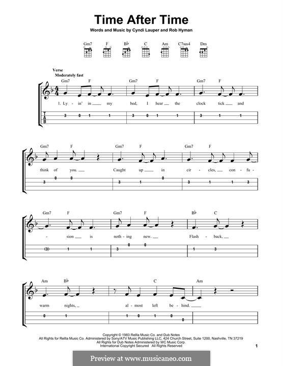 Time after Time: para ukulele by Cyndi Lauper, Robert Hyman