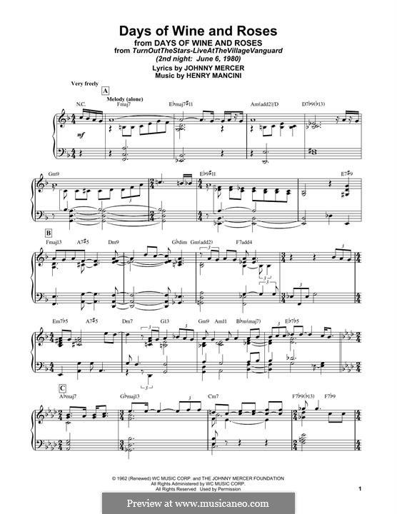 Days of Wine and Roses: Facil para o piano by Henry Mancini