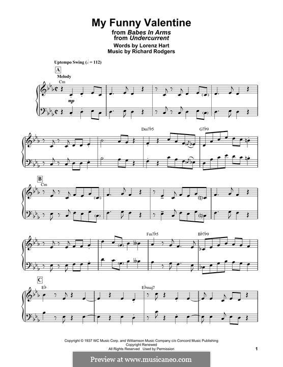My Funny Valentine: Facil para o piano by Richard Rodgers