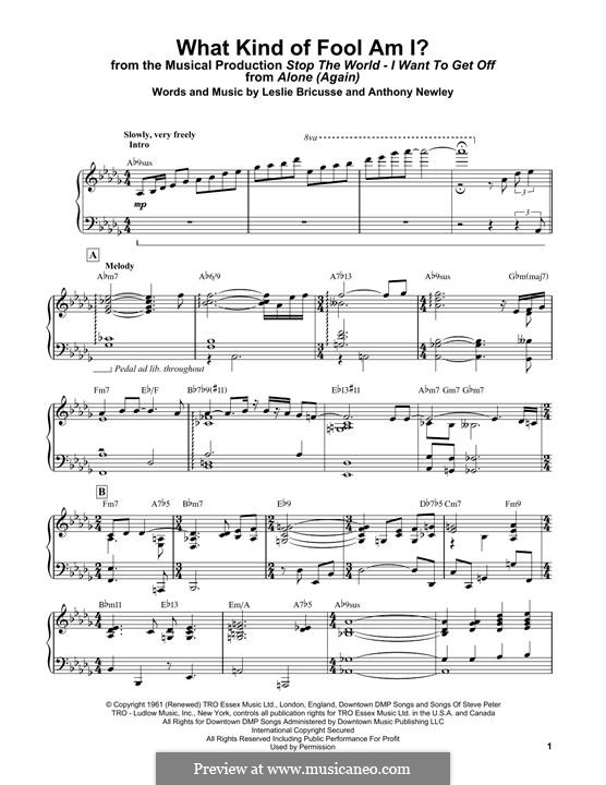 What Kind of Fool am I: Facil para o piano by Anthony Newley, Leslie Bricusse