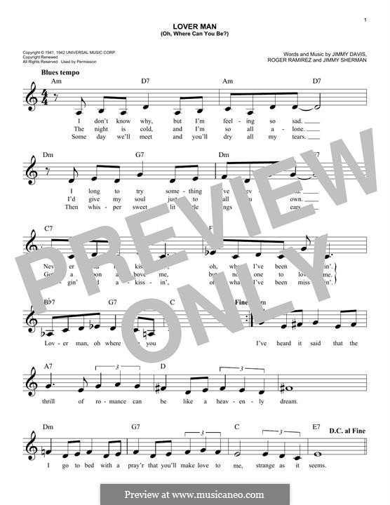 Lover Man (Oh, Where Can You Be?): para teclado by Jimmie Davis, Jimmy Sherman, Roger Ramirez